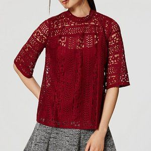 LOFT Red Striped Lace Half Sleeve Mockneck Top